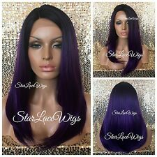 Synthetic Lace Front Wig Purple Dark Roots Long Straight Side Part Heat Safe Ok