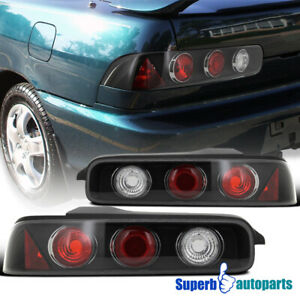 For 1994-2001 Acura 94-01 Integra 2Dr Black Tail Lights Rear Brake Lamps Pair