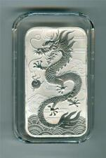 AUSTRALIA 2018 $1 DRAGON  1 OZ. .9999 SILVER BAR GEM BU