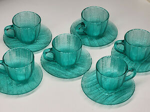 Vintage Cyan Green Ribbed Arcoroc France Glass Cups Plates (set of 6)