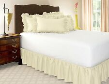 1 PIECE MICROFIBER SOLID BED RUFFLE SKIRT 14 INCH DROP SIZE FULL IVORY BEIGE