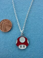 "Super Mario Bros Mushroom Enamel Pendant Necklace 18"" Birthday Gift # 151"