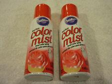 2 Cans Red Wilton Dessert Color Mist Food Spray 1.5 Oz Cupcake Cake Decorating