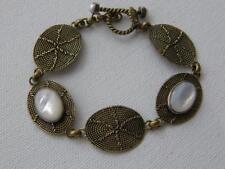 Vintage  Bronzetone & Mother of Pearl Linked Panel Toggle Bracelet Signed SB