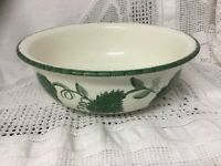 "Vintage Poole Pottery Fruit Bowl Hand Painted Green Leaf Design 9"" Dia, 3"" Deep"