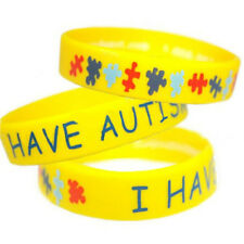 1Pcs I Have Autism Silicone Bracelet Yellow Sport Bangle Wrist Strap Band Cuff