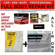 CAR BOAT BODY REPAIR KIT - FILLER, FIBRE GLASS TISSUE SHEET, ALUMINIUM MESH