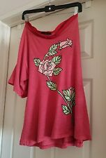 Sexy Soft Wildfox 1 Shoulder Off  Wide Sleeve Slouchy Fit Floral size M USA made