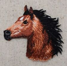 Brown Horse Head - Facing Left/Equestrian - Iron on Applique/Embroidered Patch