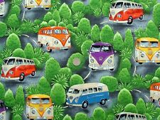 VW Camper vans on tour fq 50cm x 56cm 100% Cotton Nutex 87020-101