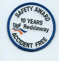 USF Reddaway safety award 10 years accident free driver patch 2-3/4 dia #1192