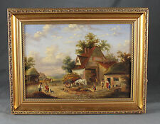 19th Century East Anglian School Busy Farmyard Scene