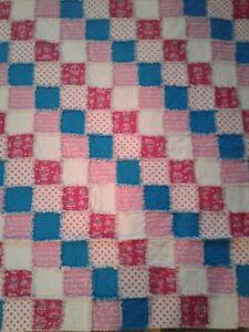 Handmade Soft Pink & Teal Cancer Awareness Rag Quilt