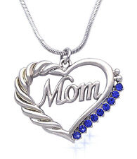 Mother's Day Birthday Gift Mom Word Royal Blue Crystal Heart Necklace Gift Box