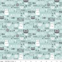 cats aqua  gray kittens fabric 100% cotton Riley Blake Purrfect day blue text