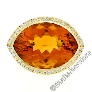 Estate 18K Gold Large Wide Citrine Diamond Halo Almond Eye Shaped Cocktail Ring