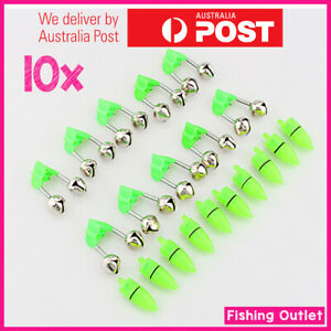 10X Fishing Bells & Fishing Light/LED, Double Rod Bite Alarm Clip