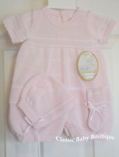 NWT Will'beth Pink & White Knit 3p Romper Preemie Baby Girls Bonnet Booties