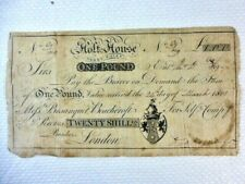 More details for rare 'holt-house', derbyshire one pound £1 bank note 24th march 1801 no 09/mg