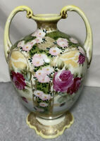 Antique Nippon Double Handle Vase With Flowers Hand Painted