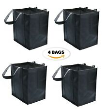 4 Pack Reusable Grocery Bags,Black Extra Large Shopping Tote Bag Heavy Non Woven