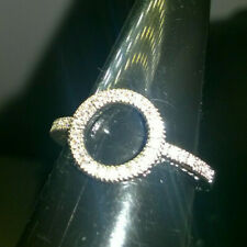 HALO RING CREATED WHITE SAPPHIRES SIZE N 1/2 SILVER