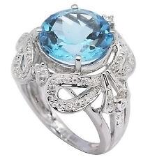 Topaz & Cubic Zirconia Ring, Size 7 De Buman Sterling Silver 7.36ctw Swiss Blue