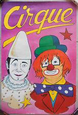 AFFICHE CIRQUE Circus Clown PIERROT par VALLET Original 80's