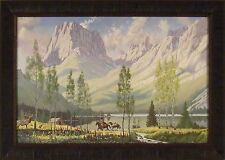 ALMOST HOME by Roy Kerswill 24x33 FRAMED PRINT Western Mountains Elk Cabin