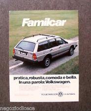 [GCG]  N256 - Advertising Pubblicità -1985- VOLKSWAGEN FAMILCAR,C'E' DA FIDARSI