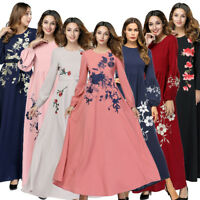 Women Muslim Long Maxi Dress Abaya Embroidery Islam Kaftan Jilbab Cocktail Robe