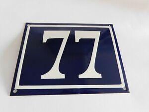 """Blue Vintage French Street House Name Number 77 - Enamel Porcelain Sign 7 x 5.5"""""""