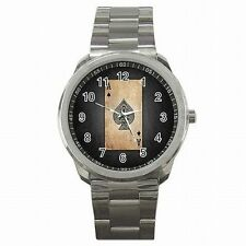 Ace of Spades Las Vegas Poker Card Player Stainless Steel Watch