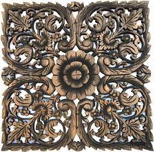 """Square Wood Carved Wall Art Panel. Asian Wood Wall Decor Plaque. Black Wash 24"""""""