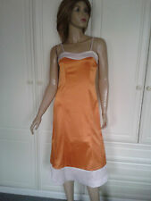 TEATRO ORANGE & CREAM SATIN DRESS SIZE 8 BNWT BLOCK COLOURS LINED