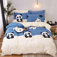 Blue Panda Printing Bedding Set Duvet Quilt Cover+Sheet+Pillow Case Four-Piece