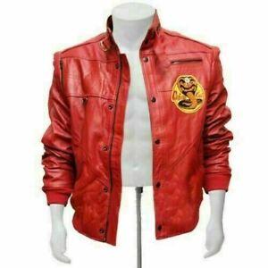 The Karate Kid Johnny Lawrence Cobra Kai Red Bomber Leather Jacket For Men