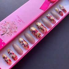 *One off* Hand Painted False Nails - XL Coffin - Gold Leaf 'Pretty in Pink' Gel