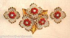 Lacy Vintage Gold Plate, Red & Ice Rhinestone & White Enamel Brooch & Earrings