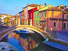 Fotografia Cityscape VENEZIA ITALIA BURANO PONTE CANALE art print poster mp3340a