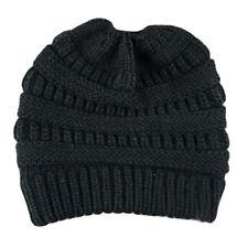 Women Beanie Tail Messy Soft Bun Hat Ponytail Stretchy Knitted Crochet Skull Cap