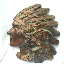 Large Indian Native American Plaster Head Bust Beer Tobacco Vintage Sign Plaque