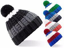 Pour Hommes Femmes Chaude Tricot Épais Doux Rayé Pompom Bonnet De Ski Calotte