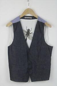 SISLEY SLIM Men's (EU)46 or ~S-M Linen Blend Denim Look Front Waistcoat 24989_JS