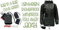 Showerproof Jacket Wind Resistant Lightweight Foldaway Olive Size Small New