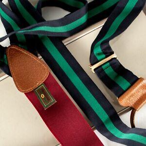 TRAFALGAR [NEW] Navy Blue and Green Stripes Men Suspenders