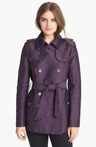Sam Edelman Women's Studded Double Breasted Trench Coat PURPLE Medium