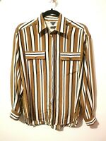 Vintage 10 S Jacques Vert Shirt Blouse Yellow Mustard Stripe Retro Buttons Retro