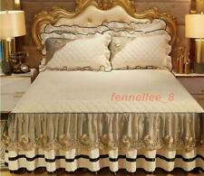 Velvet Lace Quilted Bed Skirt Elastic Twin Full Queen King Dust Ruffle Bedspread