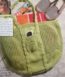 Stretchy Lace Tote Bag DK KNITTING PATTERN - Measures 45x25x27cm